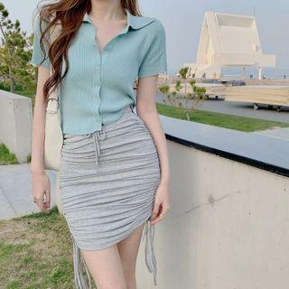 Plain Cropped Cardigan / Ruched Mini Skirt