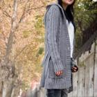 Hooded Long Cable-knit Cardigan