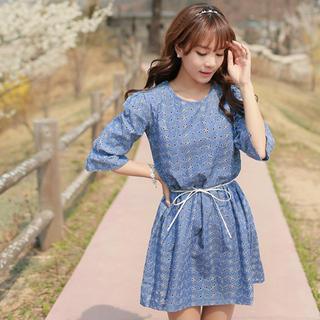 3/4-sleeve Perforated Dress