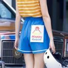 Applique Drawstring Waist Shorts