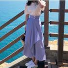 Short-sleeve Top / Striped Asymmetric Midi Skirt / Set: Short-sleeve Top + Striped Asymmetric Midi Skirt