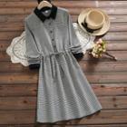 Houndstooth Long-sleeve Midi Dress