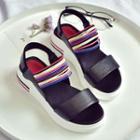 Color Striped Platform Sandals
