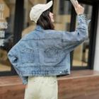 Cropped Batwing Denim Jacket