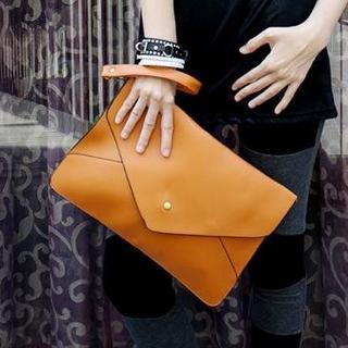 Faux-leather Envelope Clutch