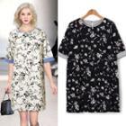 Floral Print Linen Blend Dress