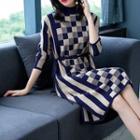 Checker & Striped Knit Dress