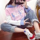 Color Block Cat Embroidered Hoodie