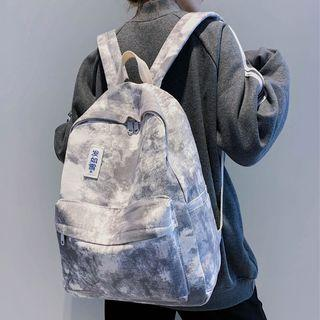 Chinese Character Applique Tie-dyed Canvas Backpack
