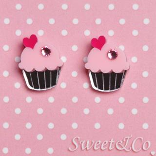 Pink Cupcake Silver Stud Earrings