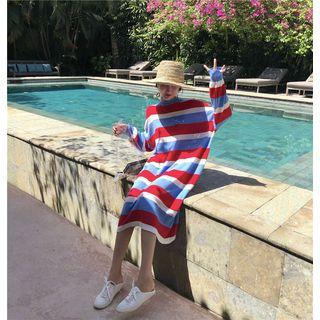 Long-sleeve Mock Neck Striped Midi Knit Dress Red & Blue & White - One Size