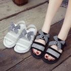 Plaid Bow Slingback Sandals