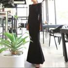 Bell-sleeve Slit Maxi Mermaid Dress / Belt / Set
