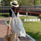 Lace-trim Dotted Sleeveless Chiffon Dress