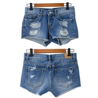 Distressed Washed Denim Shorts