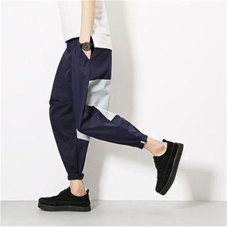 Cropped Color Panel Harem Pants