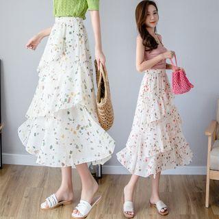 Floral Print Ruffled Midi Chiffon Skirt