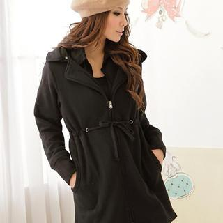Drawstring Hooded Long Jacket