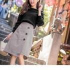 Asymmetric Buttoned A-line Skirt