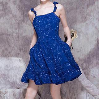 Sleeveless Ruffled Printed Dress