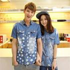 Star Print Denim Couple Shirt