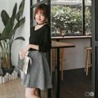 Melange Stretch Waistband Skirt