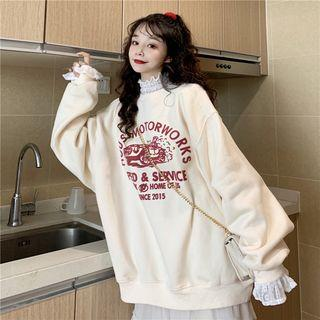 Printed Long-sleeve Pullover / Long-sleeve Ruffle-trim Lace Top