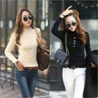 Mock-neck Button-front Rib-knit Top