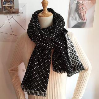 Patterned Fringed Scarf Black - One Size