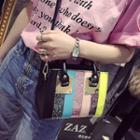 Color Block Mini Tote With Shoulder Strap