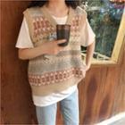 V-neck Pattern Knit Vest Beige - One Size