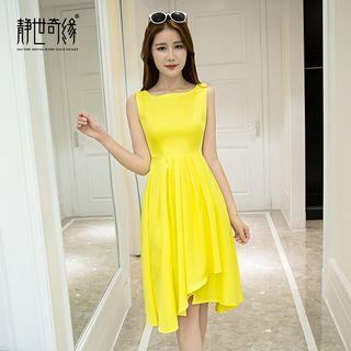 Plain Asymmetric Hem Sleeveless Dress