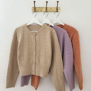 Crew-neck Colored Punched Cardigan