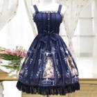 Lace Trim Bow Accent Printed Pinafore Dress