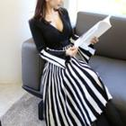 V-neck Stripe-panel Knit Midi Dress