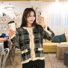 Faux-pearl Buttoned Patterned Cardigan Black - One Size