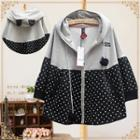Dotted Panel Hooded Jacket