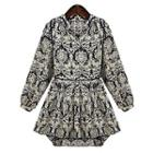 Long-sleeve Patterned Chiffon Dress