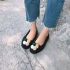 Pompom-accent Flats