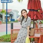 Floral Print Drawstring-waist A-line Midi Dress