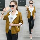 Double Breasted Color Panel Trench Coat