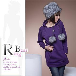 Button Front Plain Long Hoodie