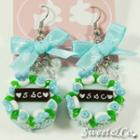 S&c Sweet Ribbon Blue Rose Cake Earrings
