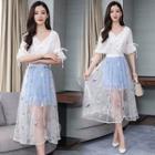 Set: Short-sleeve Blouse + Embroidered Midi Mesh Skirt