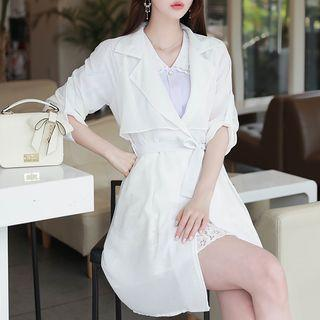 Tab-sleeve Lightweight Trench Coat With Sash