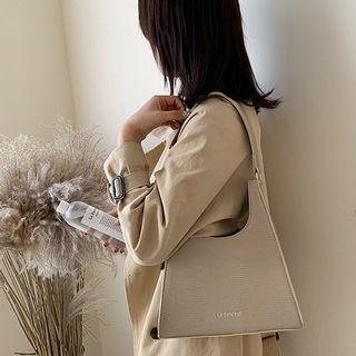 Letter Embroidered Faux Leather Hobo Bag