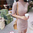 Mock-turtleneck Cable-knit Mini Dress