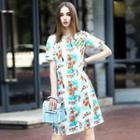 Short-sleeve Floral Linen Dress