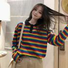 Rainbow Striped Polo Shirt