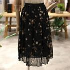 Floral Print Chiffon A-line Skirt